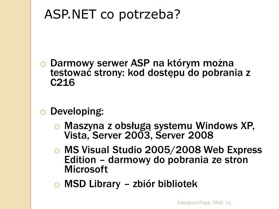 ASP.NET co potrzeba? o Darmowy serwer ASP na którym można testować strony: kod dostępu do pobrania z C216 o Developing: o Maszyna z obsługą systemu Wi
