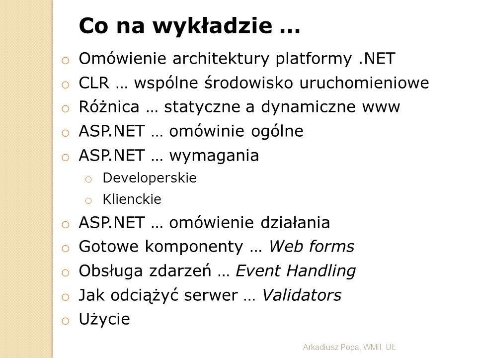 Co na wykładzie … o Omówienie architektury platformy.NET o CLR … wspólne środowisko uruchomieniowe o Różnica … statyczne a dynamiczne www o ASP.NET …