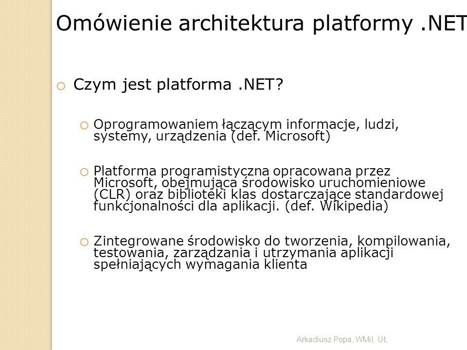 Omówienie architektura platformy.NET o Czym jest platforma.NET? o Oprogramowaniem łączącym informacje, ludzi, systemy, urządzenia (def. Microsoft) o P