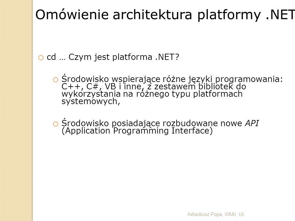 o cd … Czym jest platforma.NET? o Środowisko wspierające różne języki programowania: C++, C#, VB i inne, z zestawem bibliotek do wykorzystania na różn