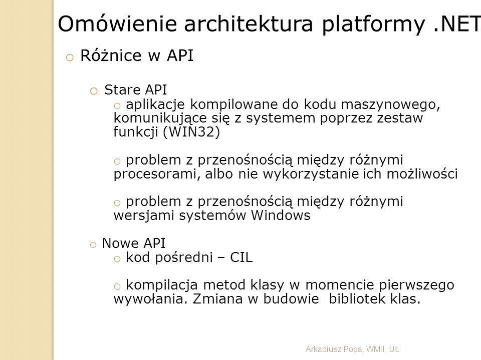 Arkadiusz Popa, WMiI, UŁ Omówienie architektura platformy.NET o Różnice w API o Stare API o aplikacje kompilowane do kodu maszynowego, komunikujące si