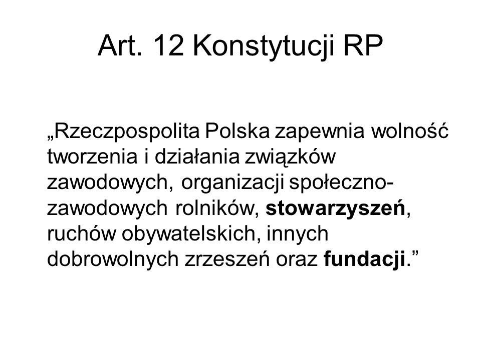 """Art. 12 Konstytucji RP """"Rzeczpospolita Polska zapewnia wolność tworzenia i działania związków zawodowych, organizacji społeczno- zawodowych rolników,"""