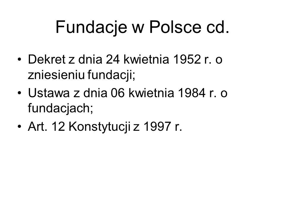 Fundacje w Polsce cd. Dekret z dnia 24 kwietnia 1952 r. o zniesieniu fundacji; Ustawa z dnia 06 kwietnia 1984 r. o fundacjach; Art. 12 Konstytucji z 1