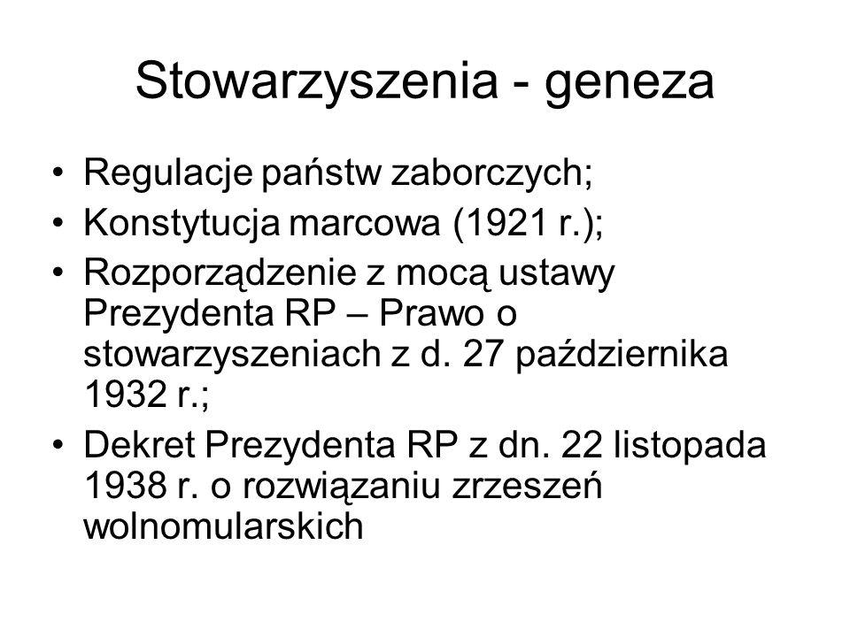 Stowarzyszenia - geneza Regulacje państw zaborczych; Konstytucja marcowa (1921 r.); Rozporządzenie z mocą ustawy Prezydenta RP – Prawo o stowarzyszeni