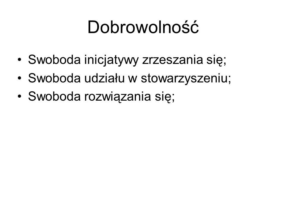 Dobrowolność Swoboda inicjatywy zrzeszania się; Swoboda udziału w stowarzyszeniu; Swoboda rozwiązania się;