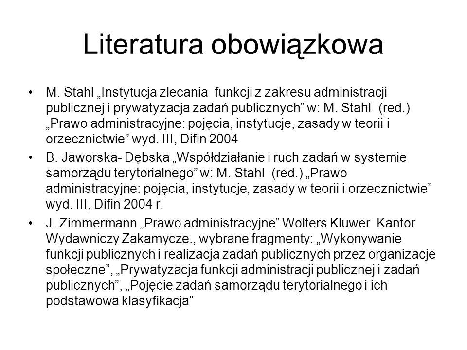 """Literatura obowiązkowa M. Stahl """"Instytucja zlecania funkcji z zakresu administracji publicznej i prywatyzacja zadań publicznych"""" w: M. Stahl (red.) """""""