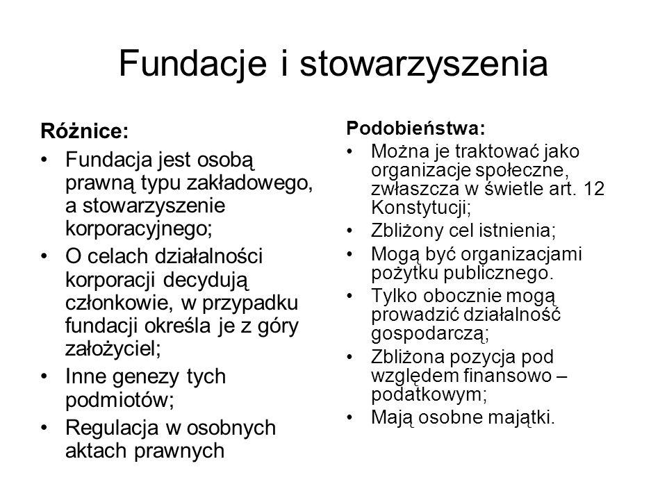 Fundacje i stowarzyszenia Różnice: Fundacja jest osobą prawną typu zakładowego, a stowarzyszenie korporacyjnego; O celach działalności korporacji decy