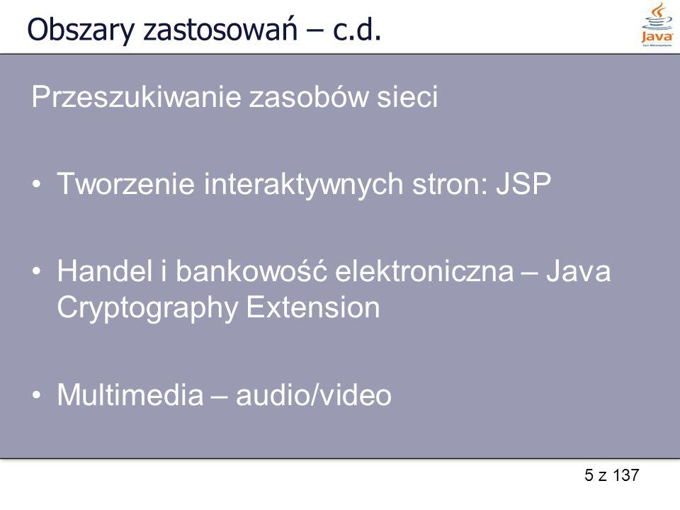 36 z 137 Pobieranie i wysyłanie danych z gniazda Przykłady klas obudowujących: strumień wejściowy: – InputStreamReader(InputStream in) – BufferedReader(Reader in) – dla buforowania InputStreamReader Strumień wyjściowy: – PrintWriter(OutputStream out) – OutputStreamWriter(OutputStream out)