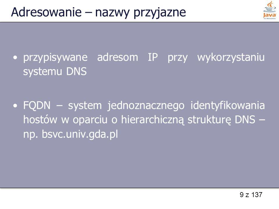 40 z 137 Pobieranie danych - przykład import java.io.*; import java.net.*; public class pobDanych { public static void main(String args[]) { try { Socket gn = new Socket( localhost , 1310); InputStreamReader strumWe = new InputStreamReader(gn.getInputStream()); BufferedReader br = new BufferedReader(strumWe); System.out.println(br.readLine()); }