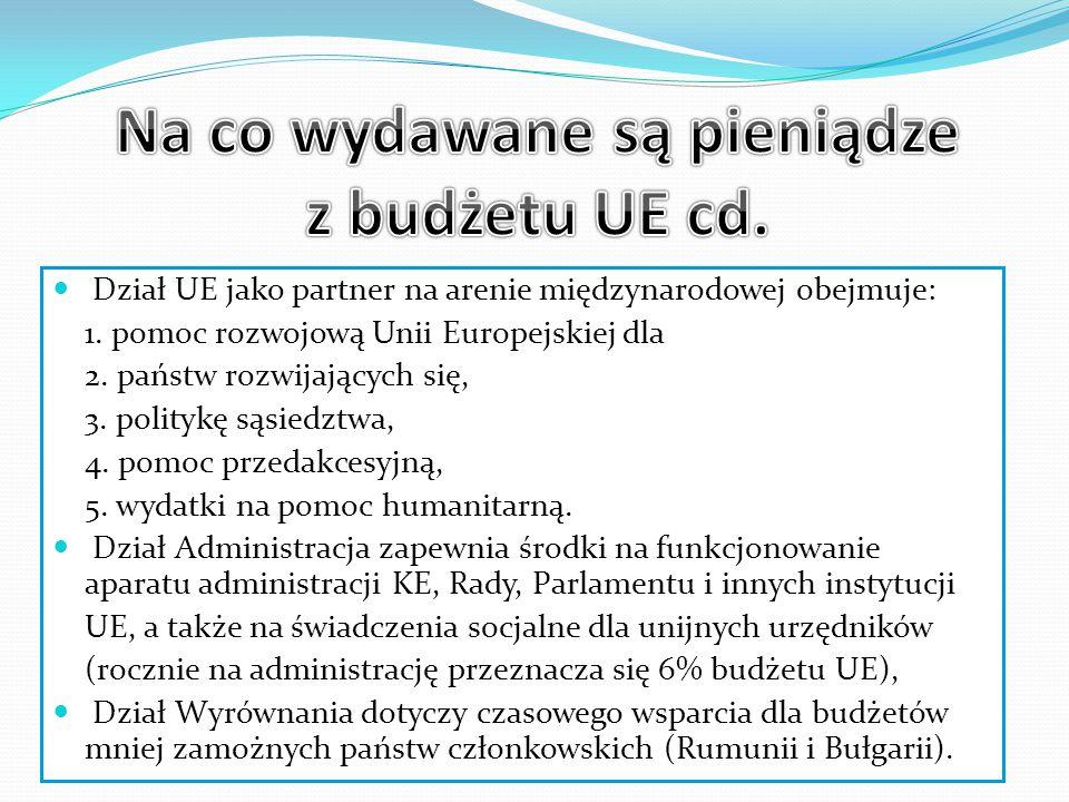 Dział UE jako partner na arenie międzynarodowej obejmuje: 1.