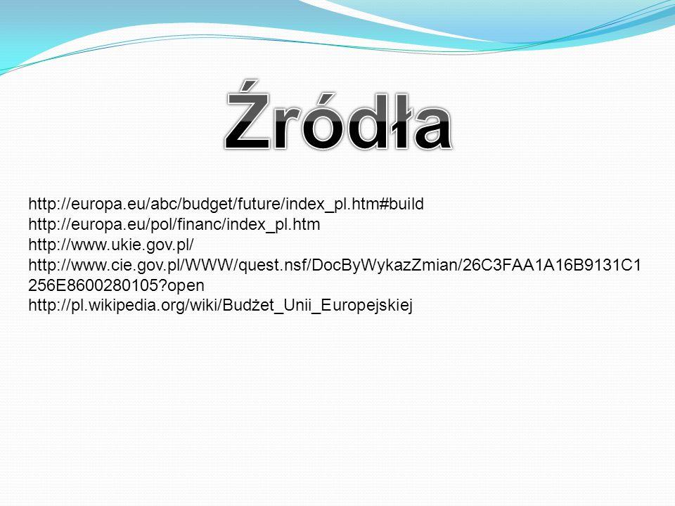 http://europa.eu/abc/budget/future/index_pl.htm#build http://europa.eu/pol/financ/index_pl.htm http://www.ukie.gov.pl/ http://www.cie.gov.pl/WWW/quest.nsf/DocByWykazZmian/26C3FAA1A16B9131C1 256E8600280105?open http://pl.wikipedia.org/wiki/Budżet_Unii_Europejskiej