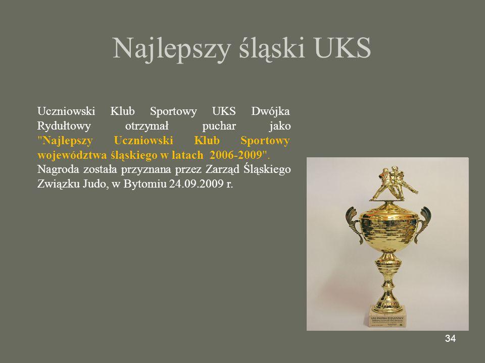 34 Najlepszy śląski UKS Uczniowski Klub Sportowy UKS Dwójka Rydułtowy otrzymał puchar jako Najlepszy Uczniowski Klub Sportowy województwa śląskiego w latach 2006-2009 .
