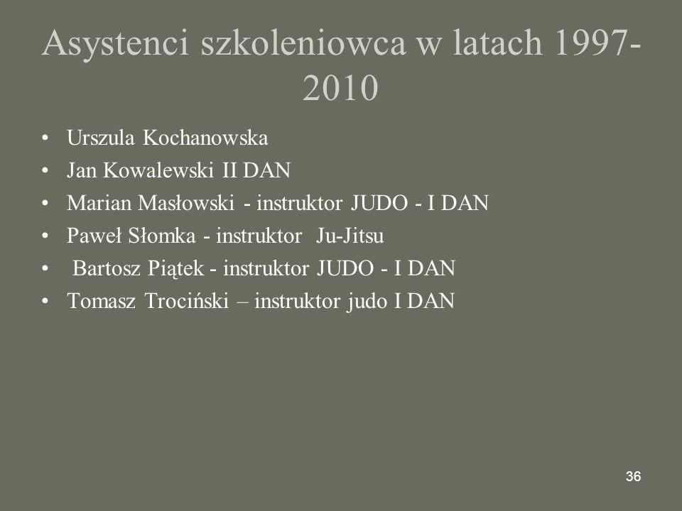 36 Asystenci szkoleniowca w latach 1997- 2010 Urszula Kochanowska Jan Kowalewski II DAN Marian Masłowski - instruktor JUDO - I DAN Paweł Słomka - instruktor Ju-Jitsu Bartosz Piątek - instruktor JUDO - I DAN Tomasz Trociński – instruktor judo I DAN
