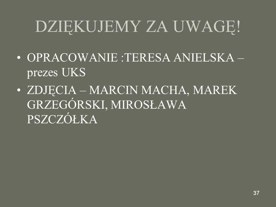 37 DZIĘKUJEMY ZA UWAGĘ.