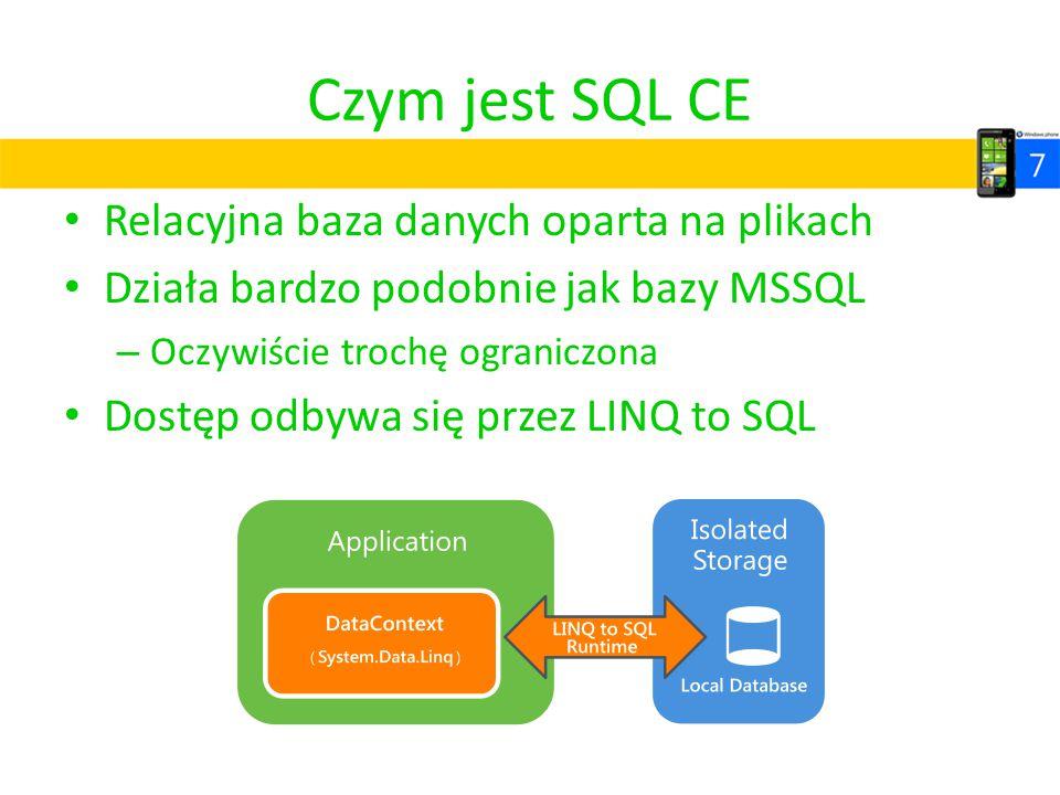 Czym jest SQL CE Relacyjna baza danych oparta na plikach Działa bardzo podobnie jak bazy MSSQL – Oczywiście trochę ograniczona Dostęp odbywa się przez