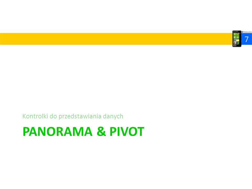 PANORAMA & PIVOT Kontrolki do przedstawiania danych