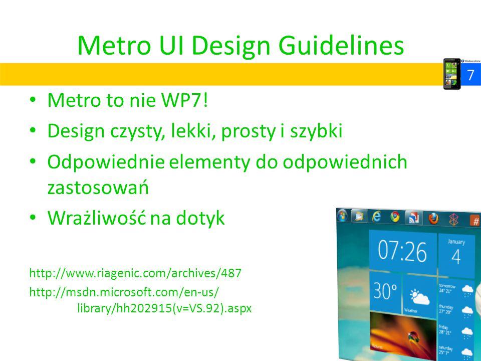 Metro UI Design Guidelines Metro to nie WP7! Design czysty, lekki, prosty i szybki Odpowiednie elementy do odpowiednich zastosowań Wrażliwość na dotyk