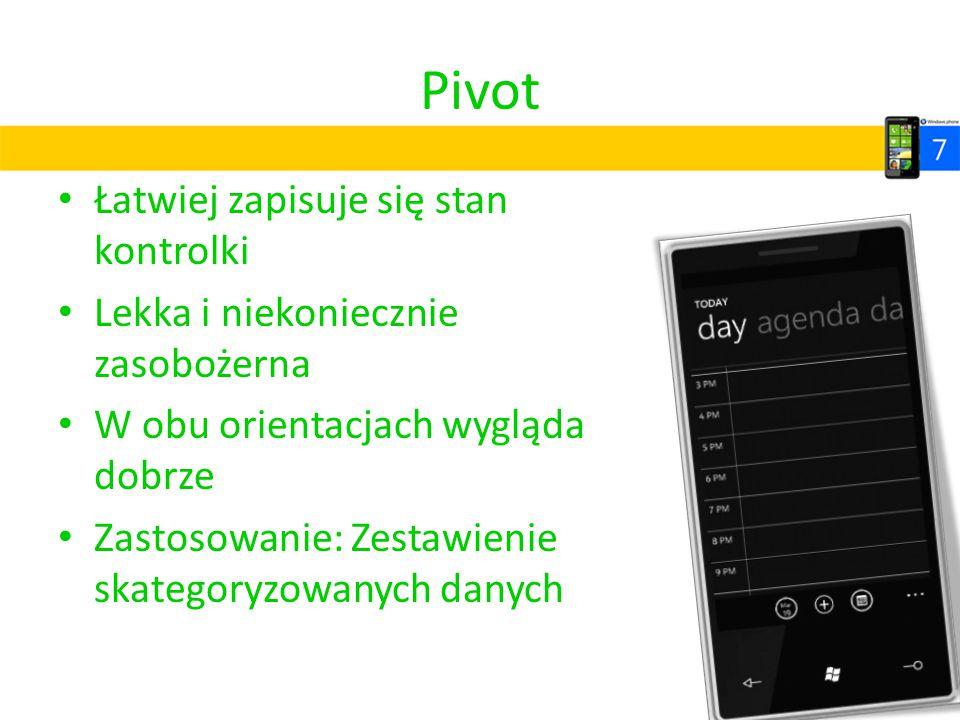 Pivot Łatwiej zapisuje się stan kontrolki Lekka i niekoniecznie zasobożerna W obu orientacjach wygląda dobrze Zastosowanie: Zestawienie skategoryzowan