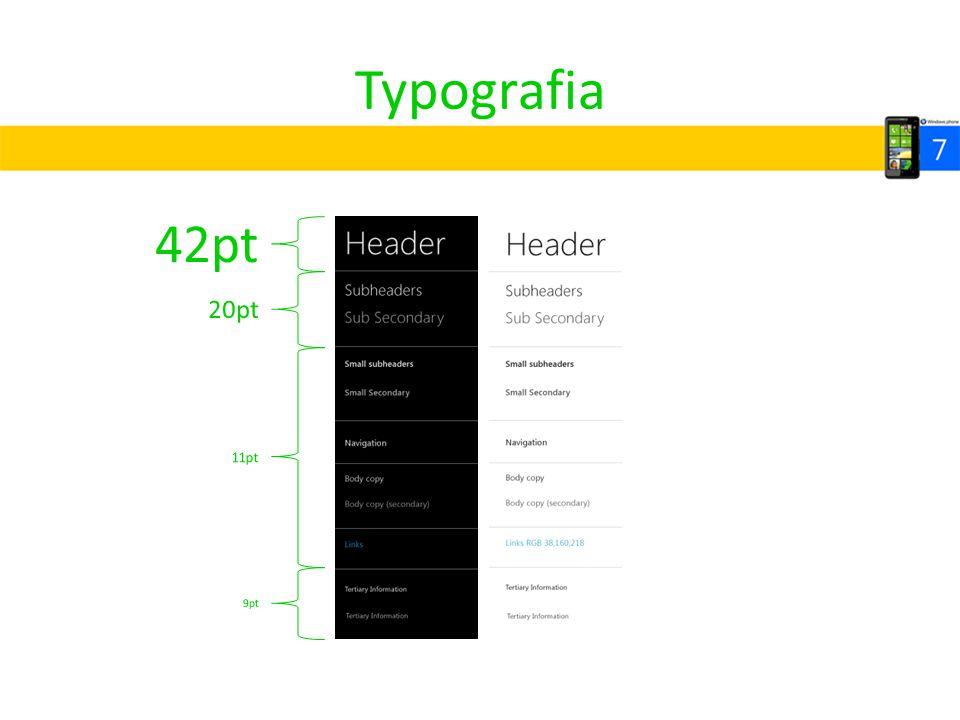 Typografia 42pt 20pt 11pt 9pt