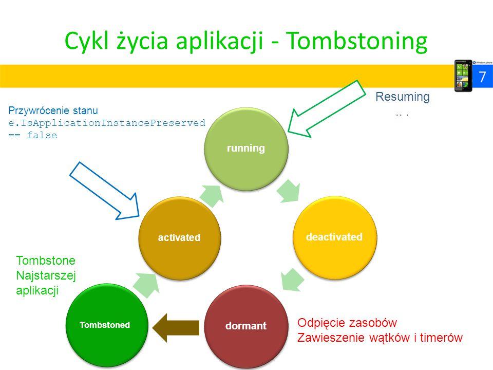 Cykl życia aplikacji - Tombstoning runningdeactivateddormant Odpięcie zasobów Zawieszenie wątków i timerów Przywrócenie stanu e.IsApplicationInstanceP
