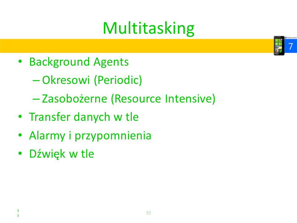 Multitasking Background Agents – Okresowi (Periodic) – Zasobożerne (Resource Intensive) Transfer danych w tle Alarmy i przypomnienia Dźwięk w tle 33 3