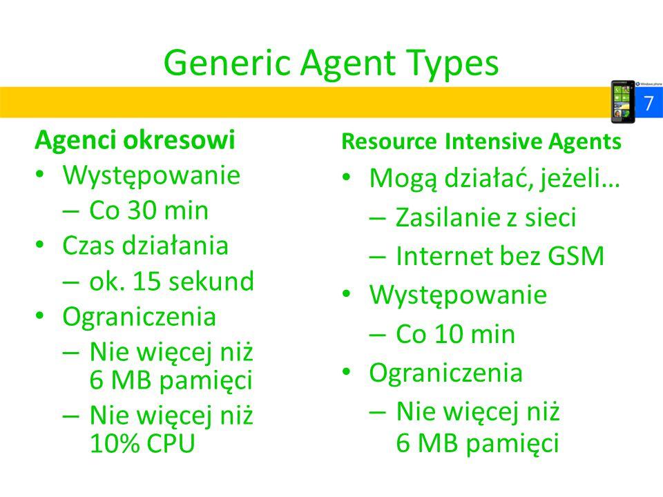 Generic Agent Types Agenci okresowi Występowanie – Co 30 min Czas działania – ok. 15 sekund Ograniczenia – Nie więcej niż 6 MB pamięci – Nie więcej ni