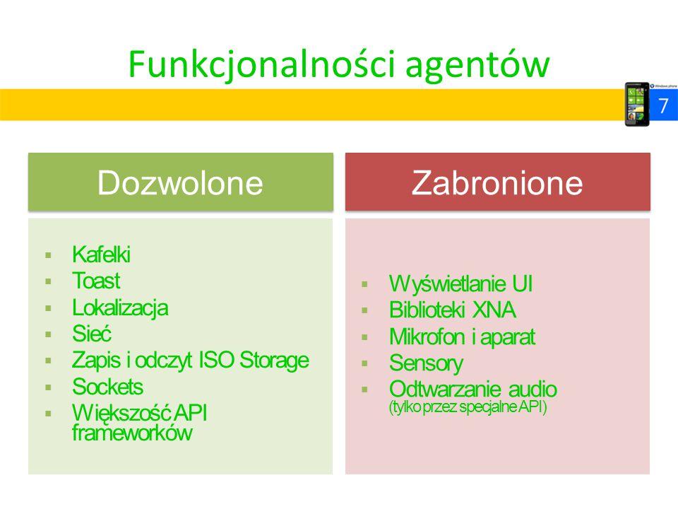 Funkcjonalności agentów Dozwolone  Kafelki  Toast  Lokalizacja  Sieć  Zapis i odczyt ISO Storage  Sockets  Większość API frameworków Zabronione