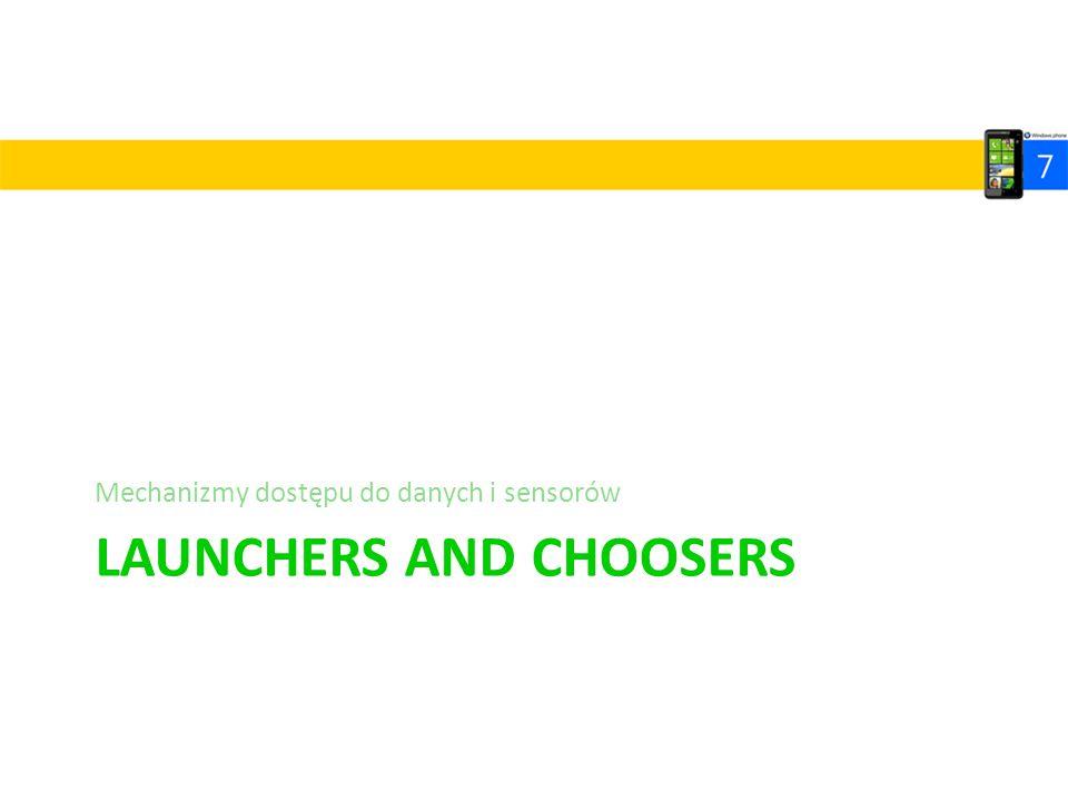 LAUNCHERS AND CHOOSERS Mechanizmy dostępu do danych i sensorów