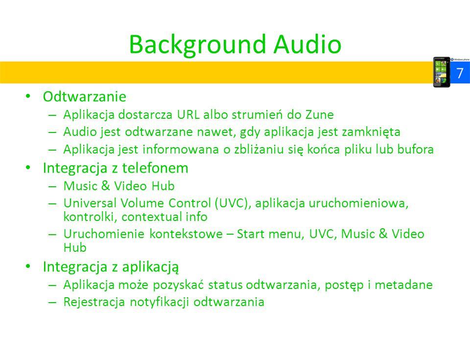 Background Audio Odtwarzanie – Aplikacja dostarcza URL albo strumień do Zune – Audio jest odtwarzane nawet, gdy aplikacja jest zamknięta – Aplikacja j