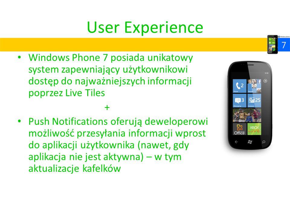 User Experience Windows Phone 7 posiada unikatowy system zapewniający użytkownikowi dostęp do najważniejszych informacji poprzez Live Tiles + Push Not