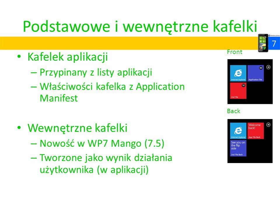Podstawowe i wewnętrzne kafelki Kafelek aplikacji – Przypinany z listy aplikacji – Właściwości kafelka z Application Manifest Wewnętrzne kafelki – Now