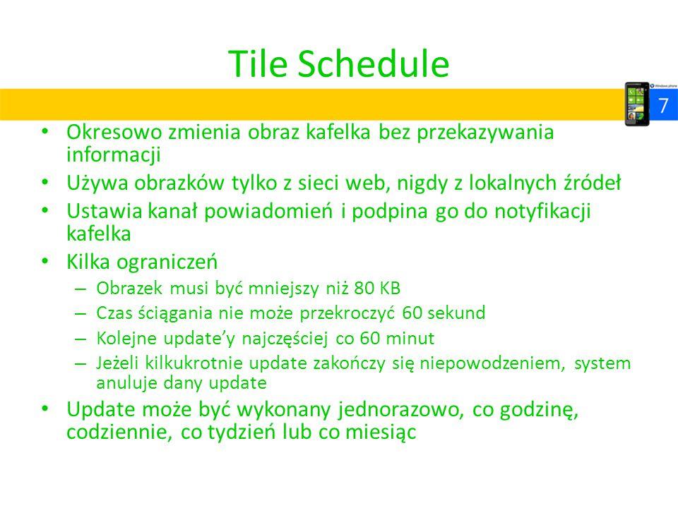 Tile Schedule Okresowo zmienia obraz kafelka bez przekazywania informacji Używa obrazków tylko z sieci web, nigdy z lokalnych źródeł Ustawia kanał pow