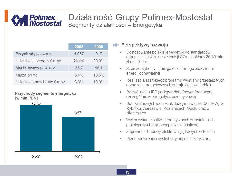 Przychody segmentu energetyka [w mln PLN] Perspektywy rozwoju  Dostosowanie polskiej energetyki do standardów europejskich w zakresie emisji CO 2 – n