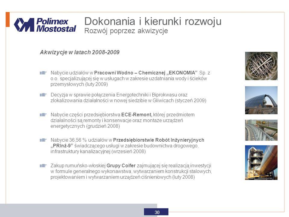 """Dokonania i kierunki rozwoju Akwizycje w latach 2008-2009 Nabycie udziałów w Pracowni Wodno – Chemicznej """"EKONOMIA"""" Sp. z o.o. specjalizującej się w u"""