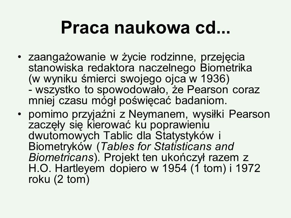 Praca naukowa cd... zaangażowanie w życie rodzinne, przejęcia stanowiska redaktora naczelnego Biometrika (w wyniku śmierci swojego ojca w 1936) - wszy