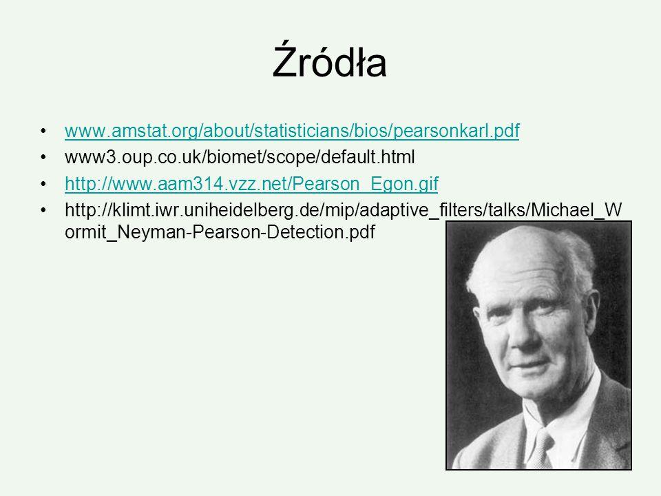 Źródła www.amstat.org/about/statisticians/bios/pearsonkarl.pdf www3.oup.co.uk/biomet/scope/default.html http://www.aam314.vzz.net/Pearson_Egon.gif htt