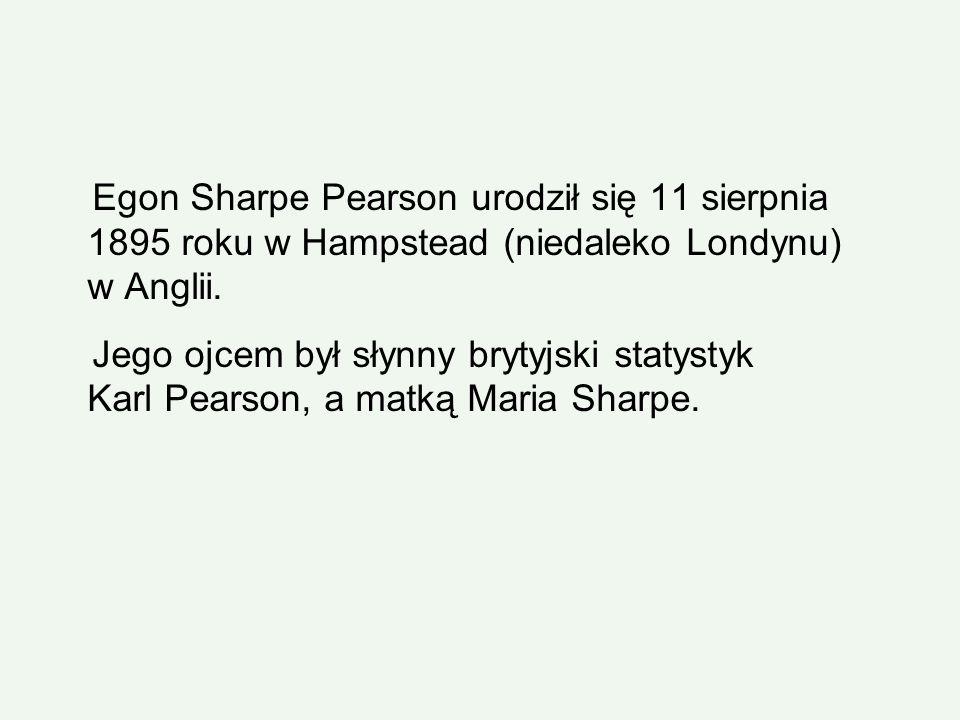 Egon Sharpe Pearson urodził się 11 sierpnia 1895 roku w Hampstead (niedaleko Londynu) w Anglii. Jego ojcem był słynny brytyjski statystyk Karl Pearson