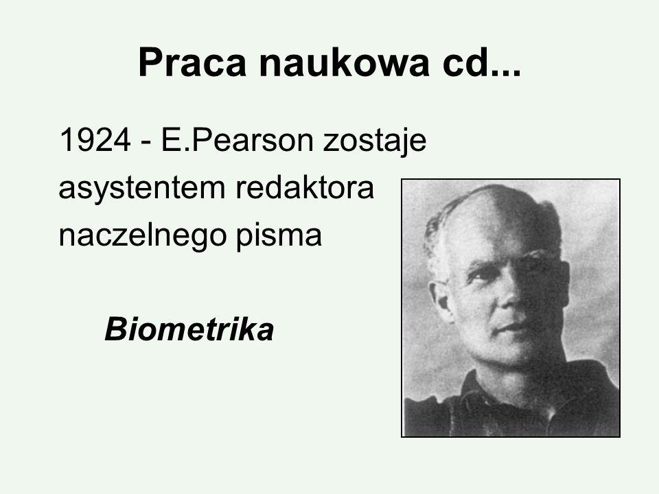 Praca naukowa cd... 1924 - E.Pearson zostaje asystentem redaktora naczelnego pisma Biometrika