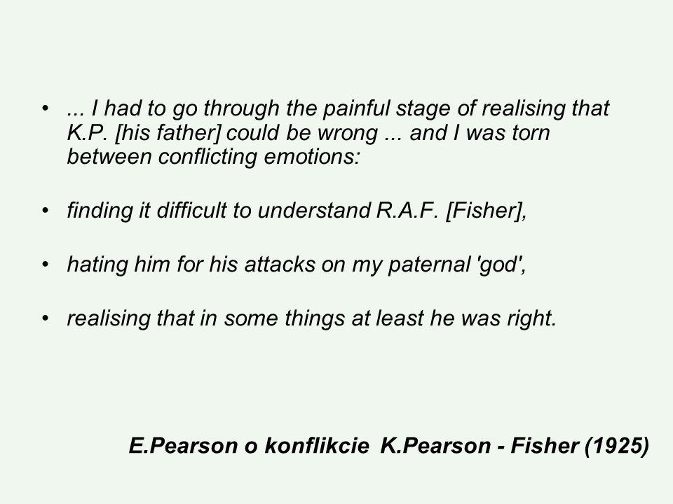 E.Pearson o konflikcie K.Pearson - Fisher (1925)...