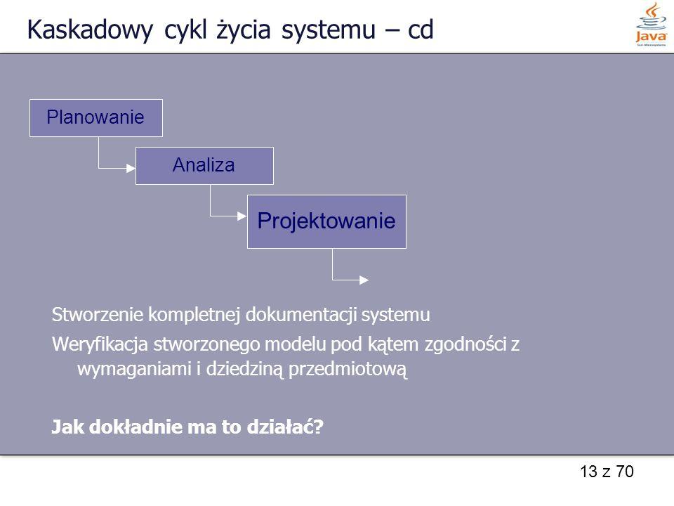 13 z 70 Kaskadowy cykl życia systemu – cd Stworzenie kompletnej dokumentacji systemu Weryfikacja stworzonego modelu pod kątem zgodności z wymaganiami