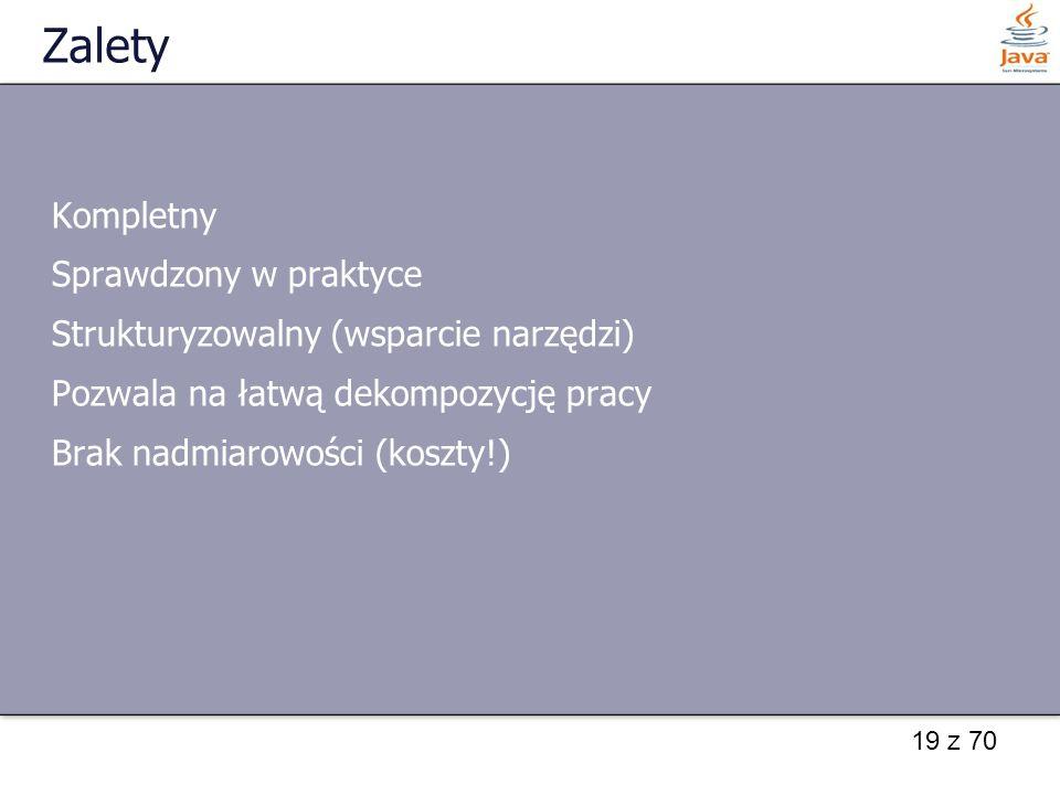 19 z 70 Zalety Kompletny Sprawdzony w praktyce Strukturyzowalny (wsparcie narzędzi) Pozwala na łatwą dekompozycję pracy Brak nadmiarowości (koszty!)