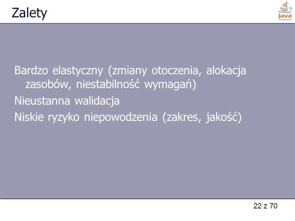 22 z 70 Zalety Bardzo elastyczny (zmiany otoczenia, alokacja zasobów, niestabilność wymagań) Nieustanna walidacja Niskie ryzyko niepowodzenia (zakres,