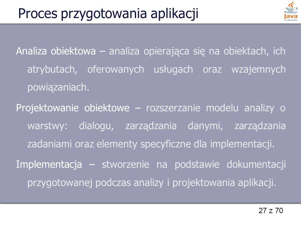 27 z 70 Proces przygotowania aplikacji Analiza obiektowa – analiza opierająca się na obiektach, ich atrybutach, oferowanych usługach oraz wzajemnych p