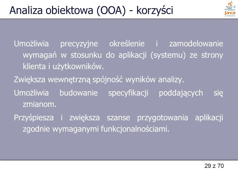 29 z 70 Analiza obiektowa (OOA) - korzyści Umożliwia precyzyjne określenie i zamodelowanie wymagań w stosunku do aplikacji (systemu) ze strony klienta