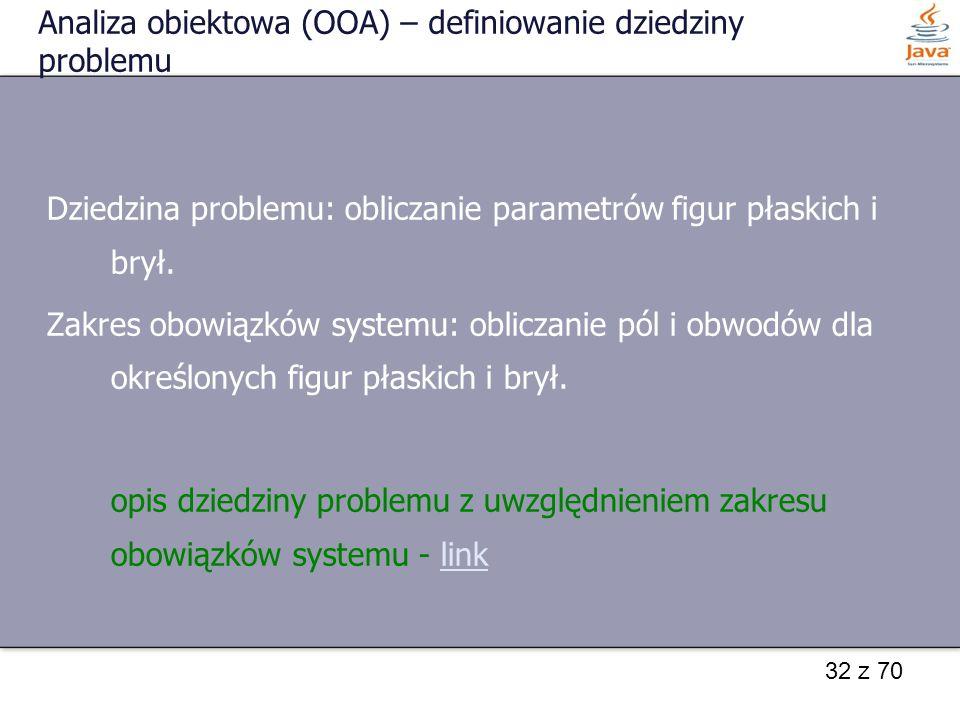 32 z 70 Analiza obiektowa (OOA) – definiowanie dziedziny problemu Dziedzina problemu: obliczanie parametrów figur płaskich i brył. Zakres obowiązków s