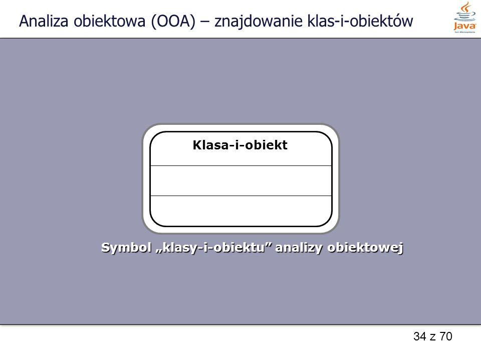 """34 z 70 Analiza obiektowa (OOA) – znajdowanie klas-i-obiektów Klasa-i-obiekt Symbol """"klasy-i-obiektu"""" analizy obiektowej"""
