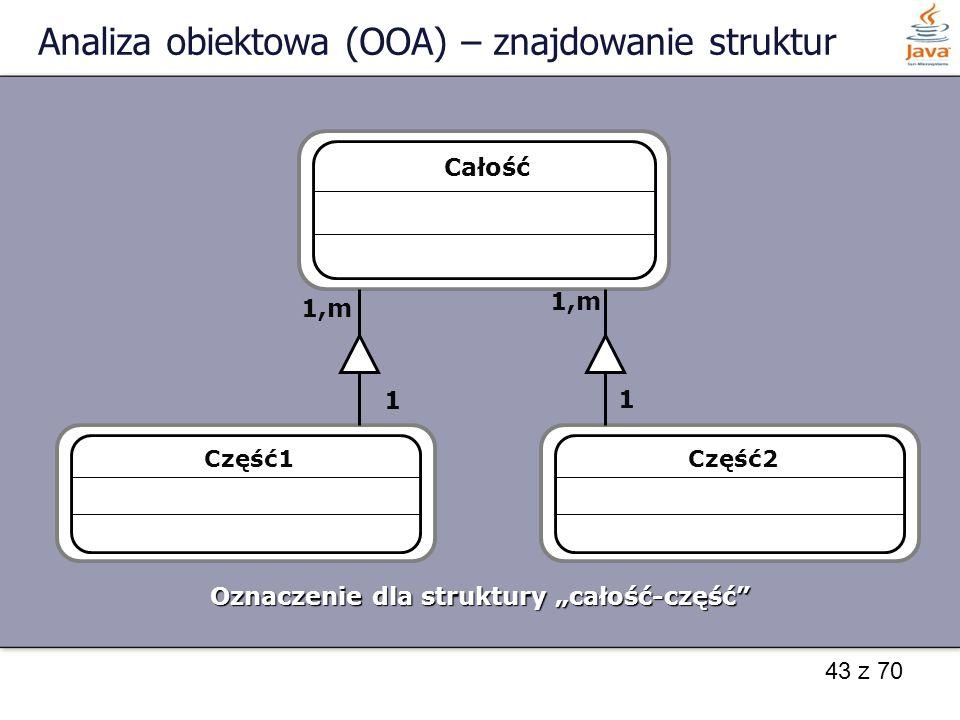 """43 z 70 Analiza obiektowa (OOA) – znajdowanie struktur Całość Oznaczenie dla struktury """"całość-część"""" Część1Część2 1,m 1 1"""