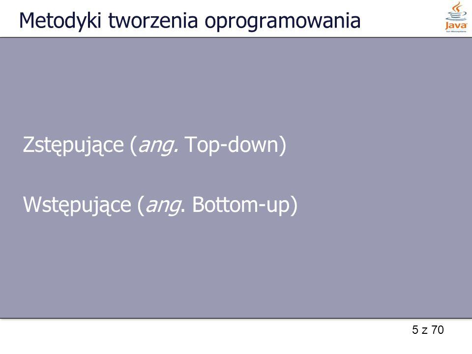 5 z 70 Metodyki tworzenia oprogramowania Zstępujące (ang. Top-down) Wstępujące (ang. Bottom-up)