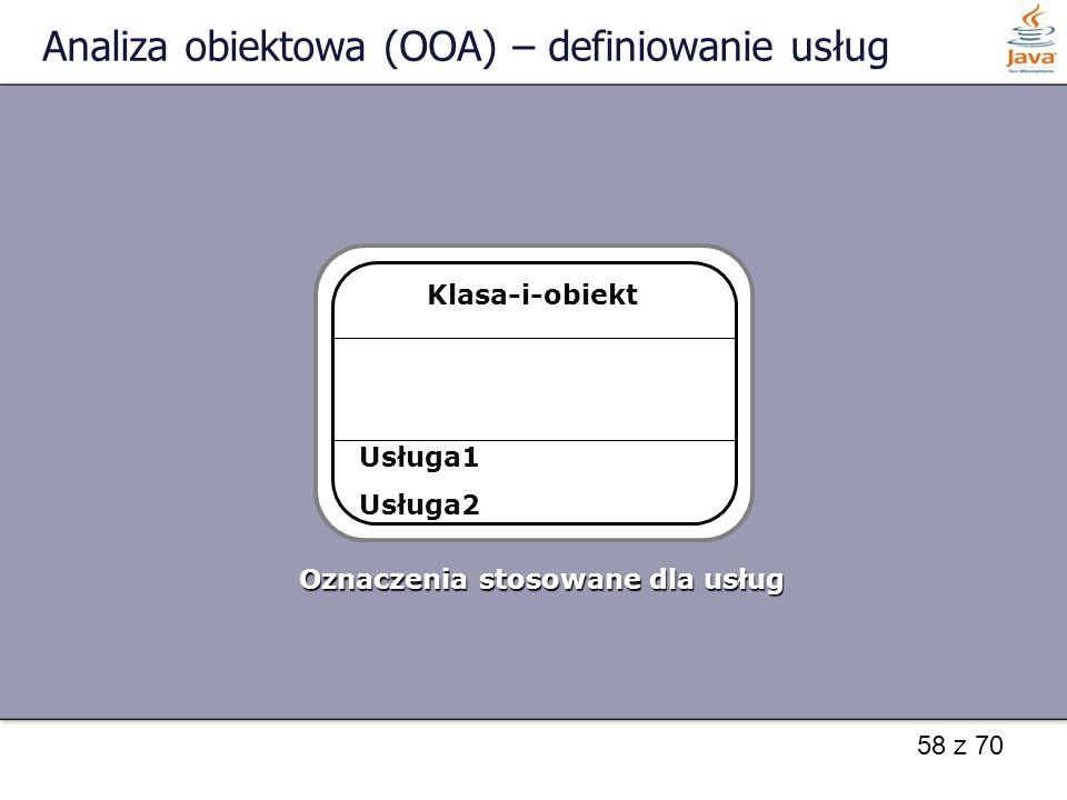 58 z 70 Analiza obiektowa (OOA) – definiowanie usług Klasa-i-obiekt Oznaczenia stosowane dla usług Usługa1 Usługa2