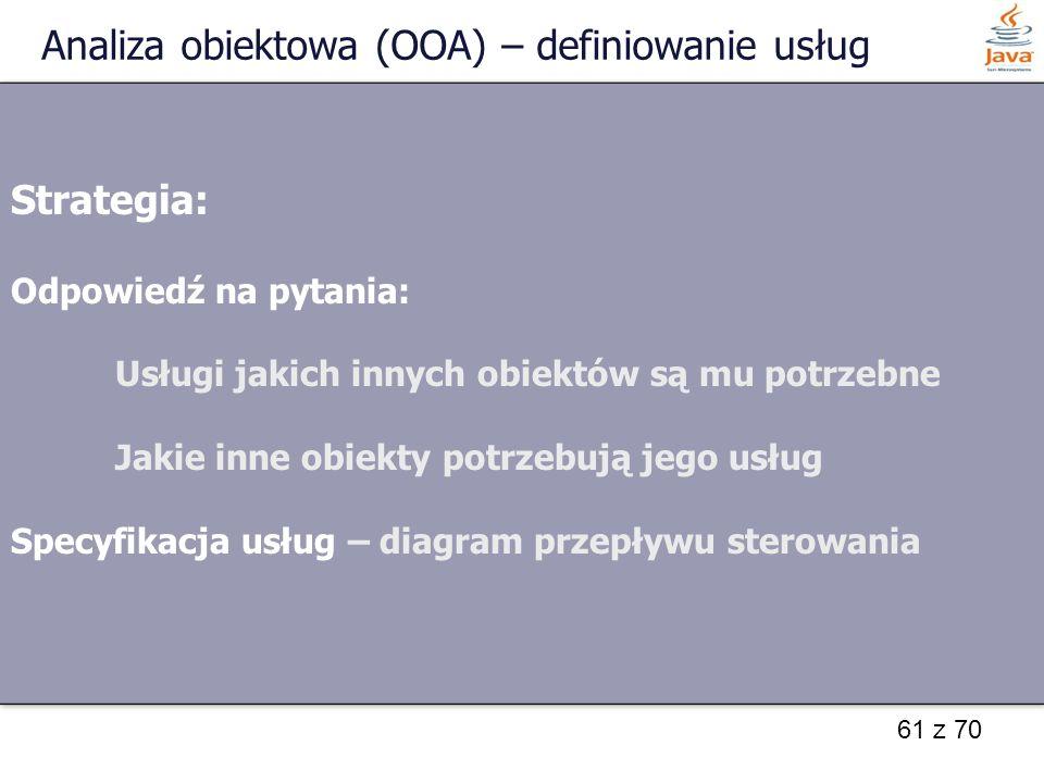 61 z 70 Analiza obiektowa (OOA) – definiowanie usług Strategia: Odpowiedź na pytania: Usługi jakich innych obiektów są mu potrzebne Jakie inne obiekty